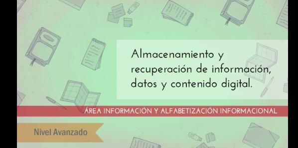 FDCD. Información y Alfabetización informacional. Almacenamiento y recuperación de información, datos y contenido digital.  (Nivel AVANZADO ) (2020)